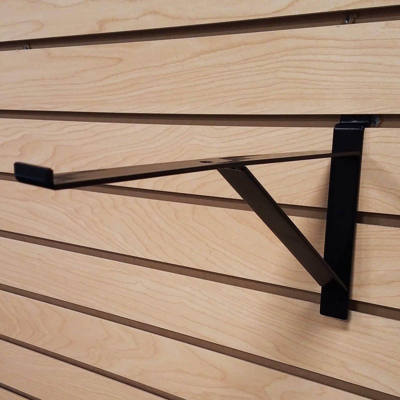 12'' Black Heavy Duty Slatwall Shelf Bracket with Support & Lip - 10 Pack
