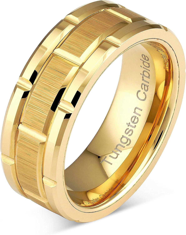 18Ct GOLD TUNGSTEN CARBIDE BRUSHED 5 DIAMONDS SET MENS JEWELLERY