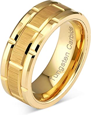 8 mm Mens Tungsten Carbide Rings Wedding Bands Center Center Gold Plated Groove