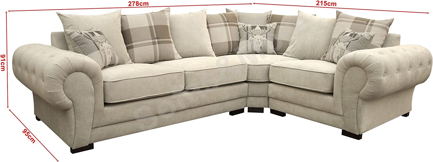 Corner Sofa Verona Fabric Left Or Right Grey Brown Cream Designer Scatter Cushions Living Room Furniture Right Cream Amazon Co Uk Kitchen Home
