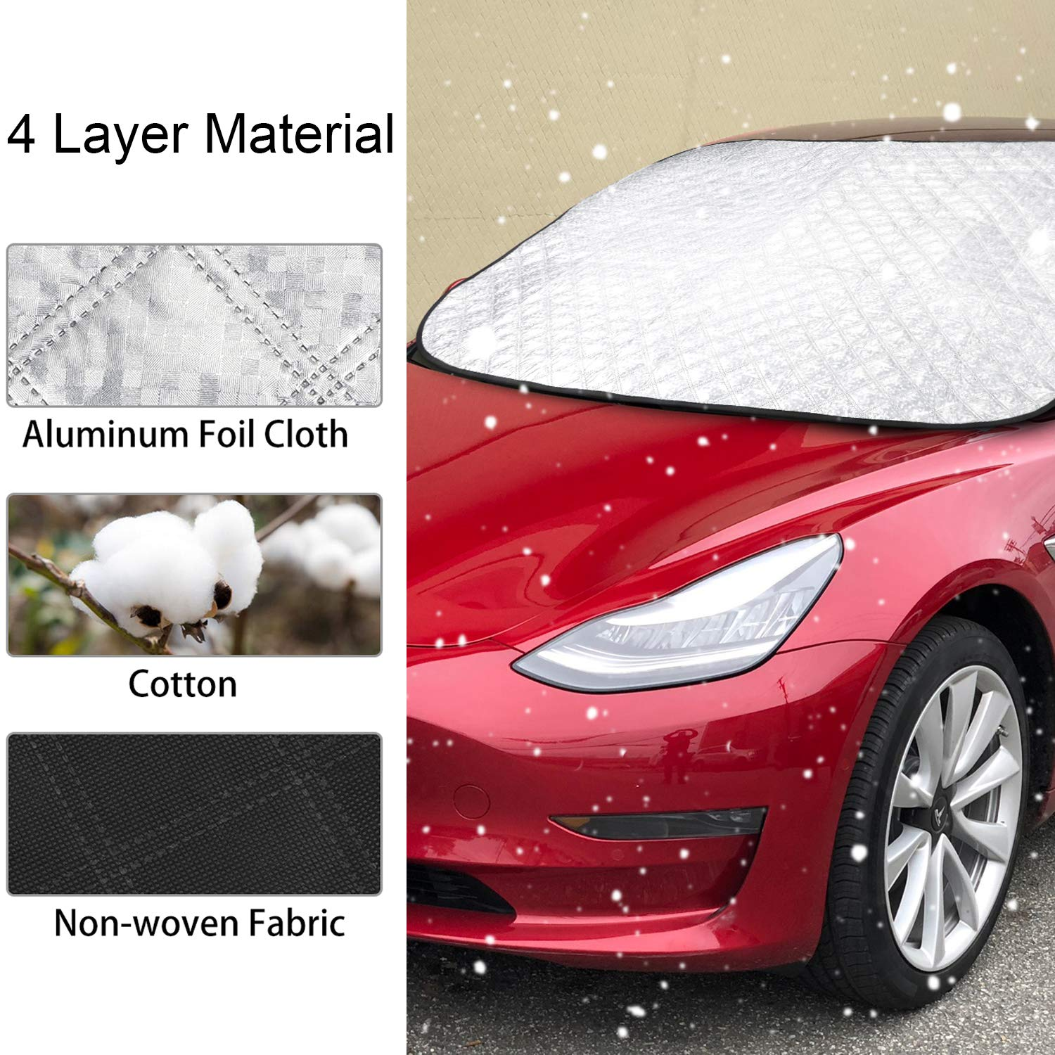BASENOR Model 3 Winter Windshield Cover Snow /& Ice Cover Front Sun Shade Protector for Tesla Model 3