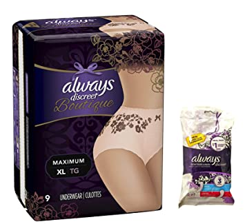 Always Discreet Boutique Incontinence Underwear & Pads - Maximum Protection XL - 9 Disposable - Peach