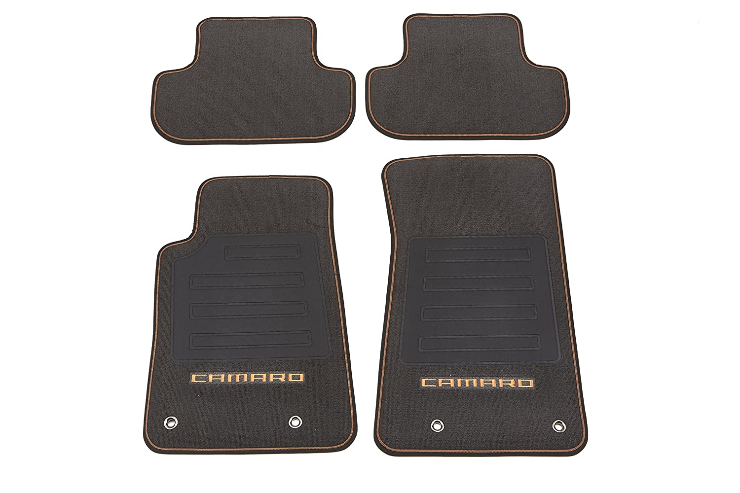 GM Accessories 22808224 Front and Rear Carpeted Floor Mats in Mojave with Camaro Logo and Mojave Edging General Motors