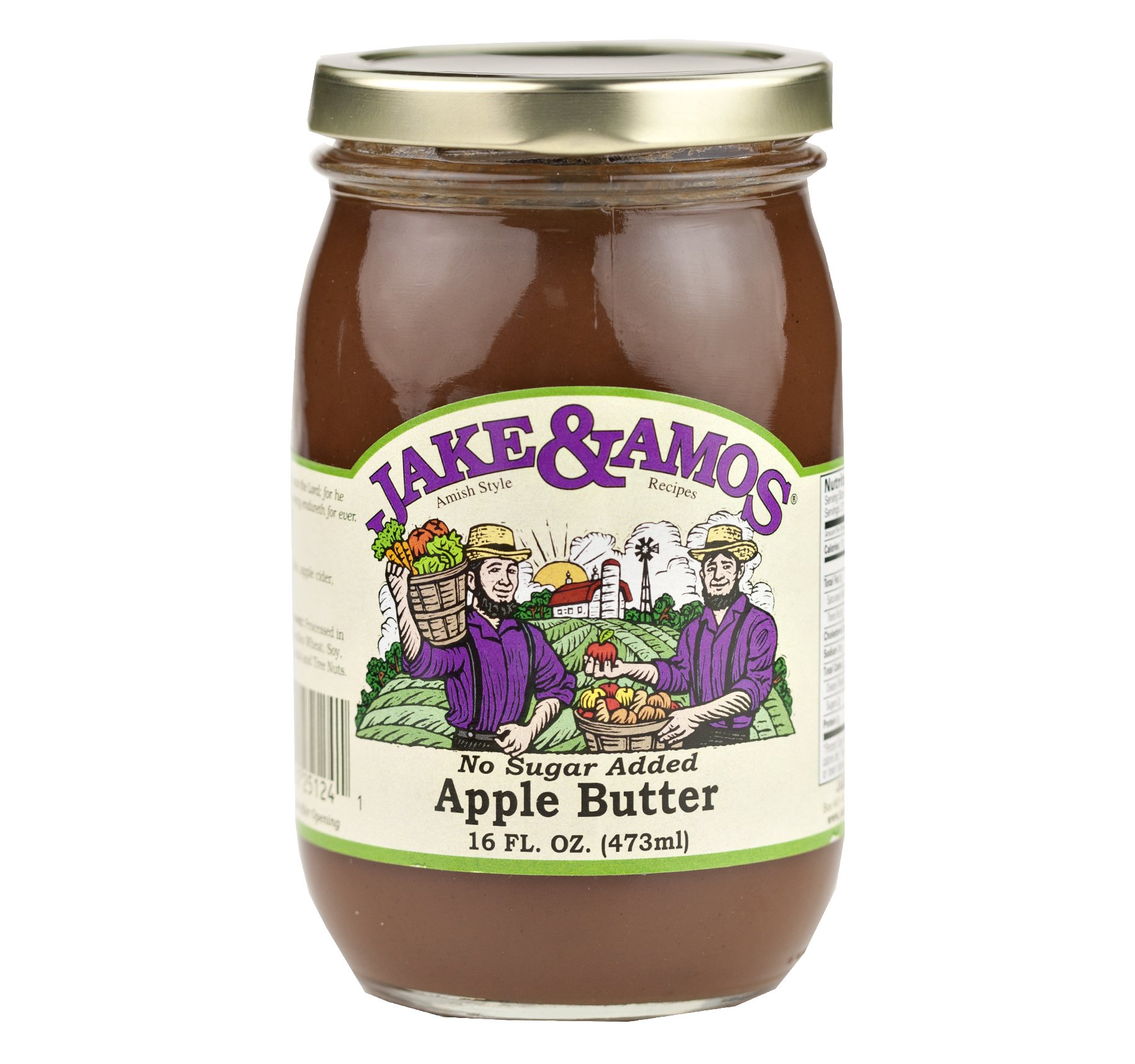 Jake & Amos Apple Butter With Spice No Sugar 16 oz. (3 Jars)