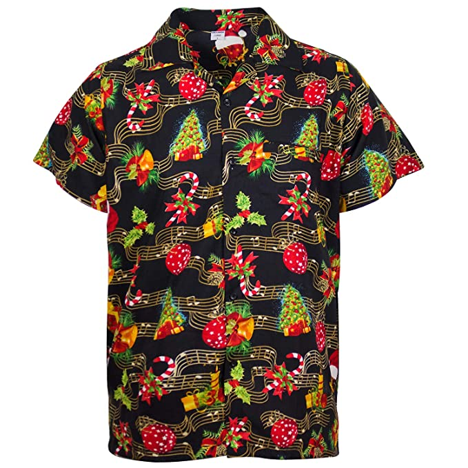 Funky Hawaiian Shirt Skull Multi-Black