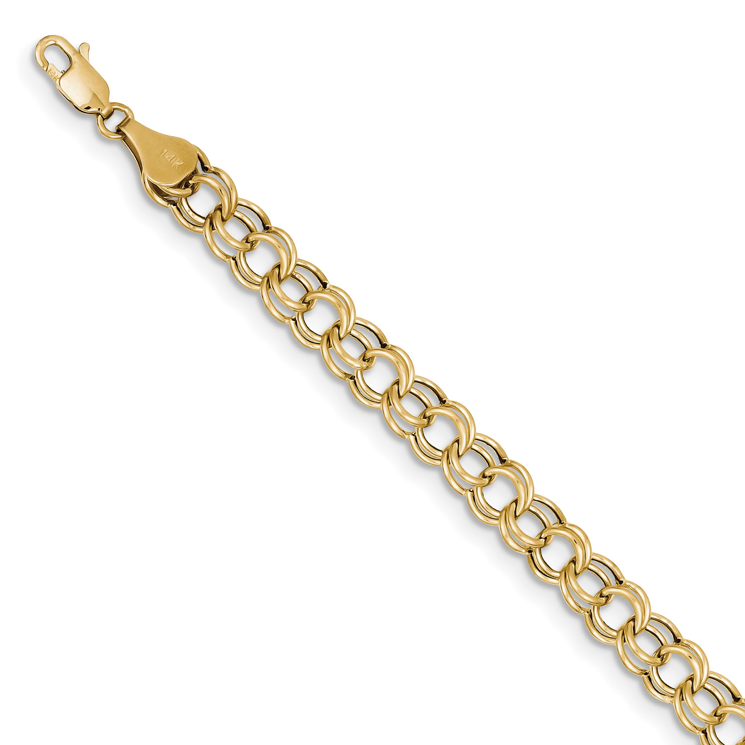 ICE CARATS 10k Yellow Gold Double Link Charm Bracelet 7 Inch Fine Jewelry Gift For Women Heart