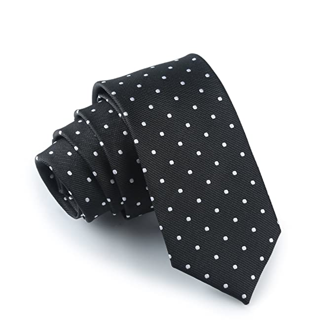 f4bb00826b9f Elviros Men's Eco-friendly Fashion Polka Dot Slim Tie 2.4'' [6cm ...