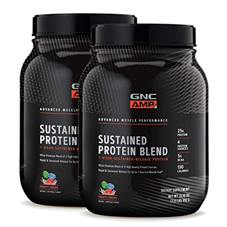 GNC AMP Sustained Protein Blend – Fruity Crisps – Twin Pack