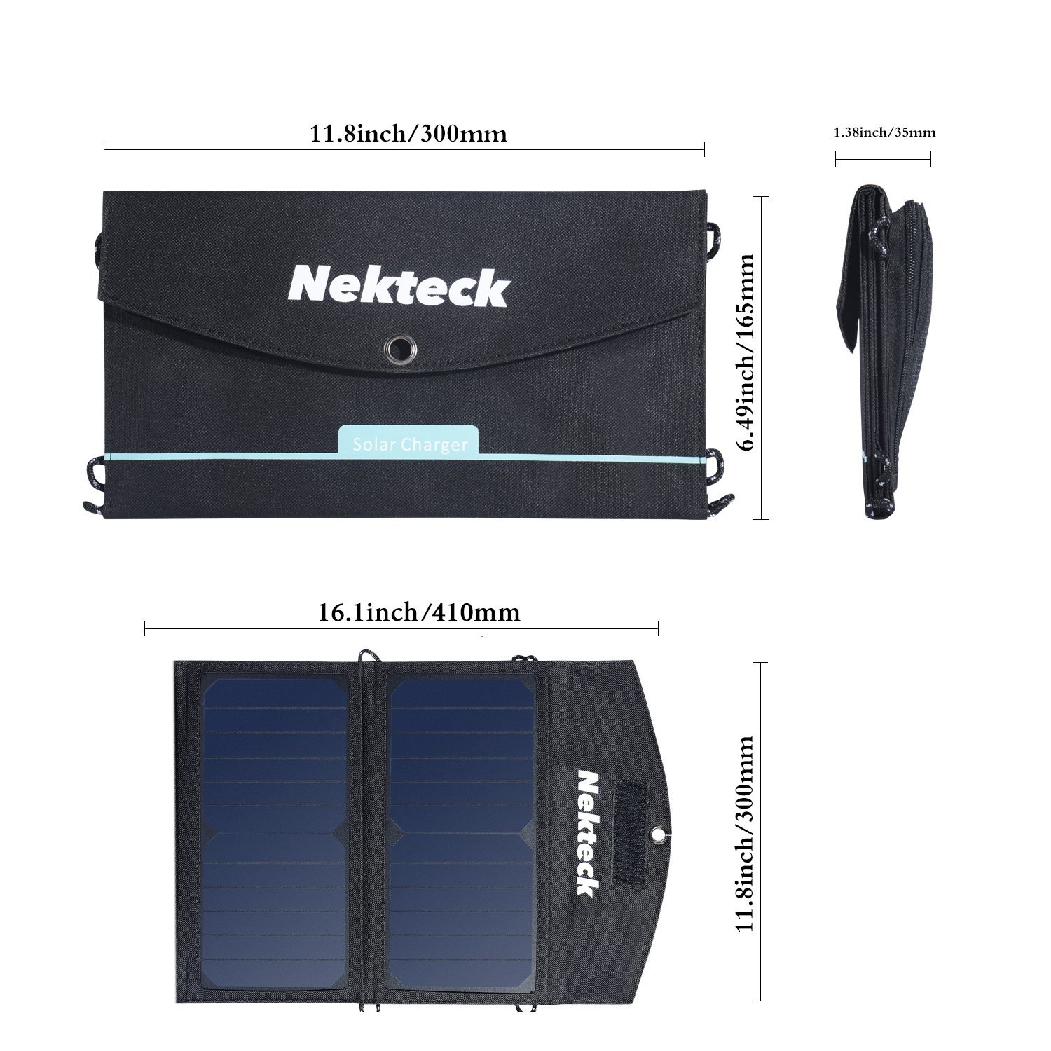 Nekteck 14W Solar Charger with 2-Port USB Charger Build with High efficiency Solar Panel Cell for iPhone 6s / 6 / Plus, SE, iPad, Galaxy S6/S7/ Edge/ Plus, Nexus 5X/6P, any USB devices, and more by Nekteck (Image #6)