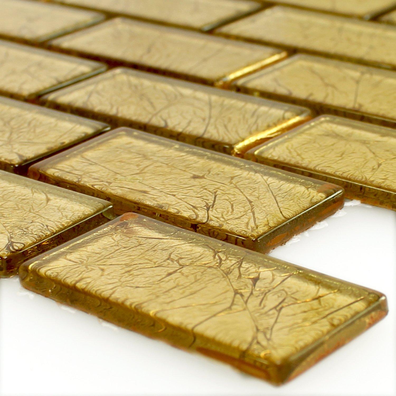 Fliesen-Bord/üre Mosaikfliesen Glas Brick Crystal Gold Struktur MUSTER Wandfliesen Mosaik-Fliesen Ideal f/ür die K/üche und Badezimmer Glasmosaik Muster