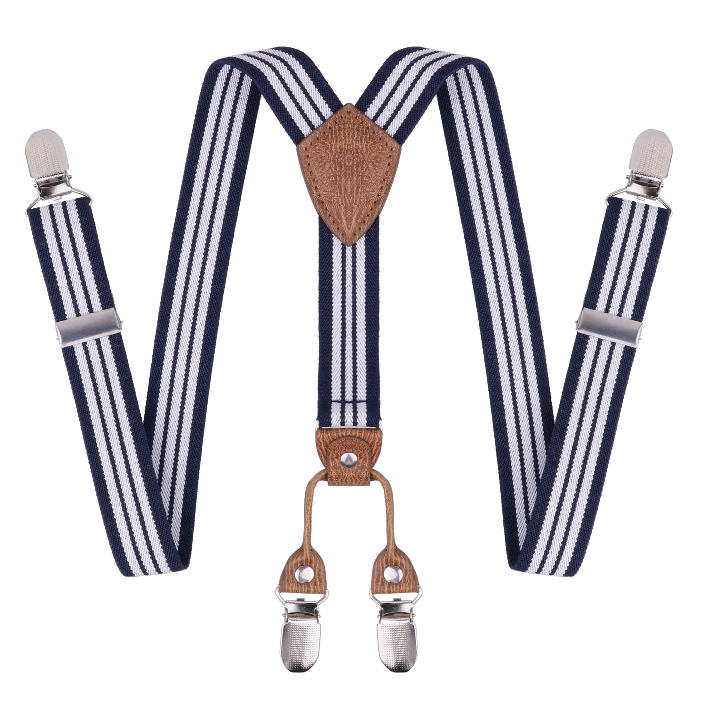 dPois Kids Boys Girls' Adjustable Y Back Elastic Heavy Duty Suspenders Tuxedo Accessory with 4 Metal Clips Navy Blue&White One Size