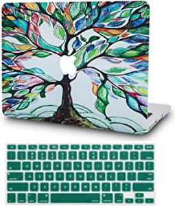 "KECC Laptop Case for MacBook Air 13"" w/Keyboard Cover Plastic Hard Shell Case A1466/A1369 2 in 1 Bundle (Colorful Tree)"