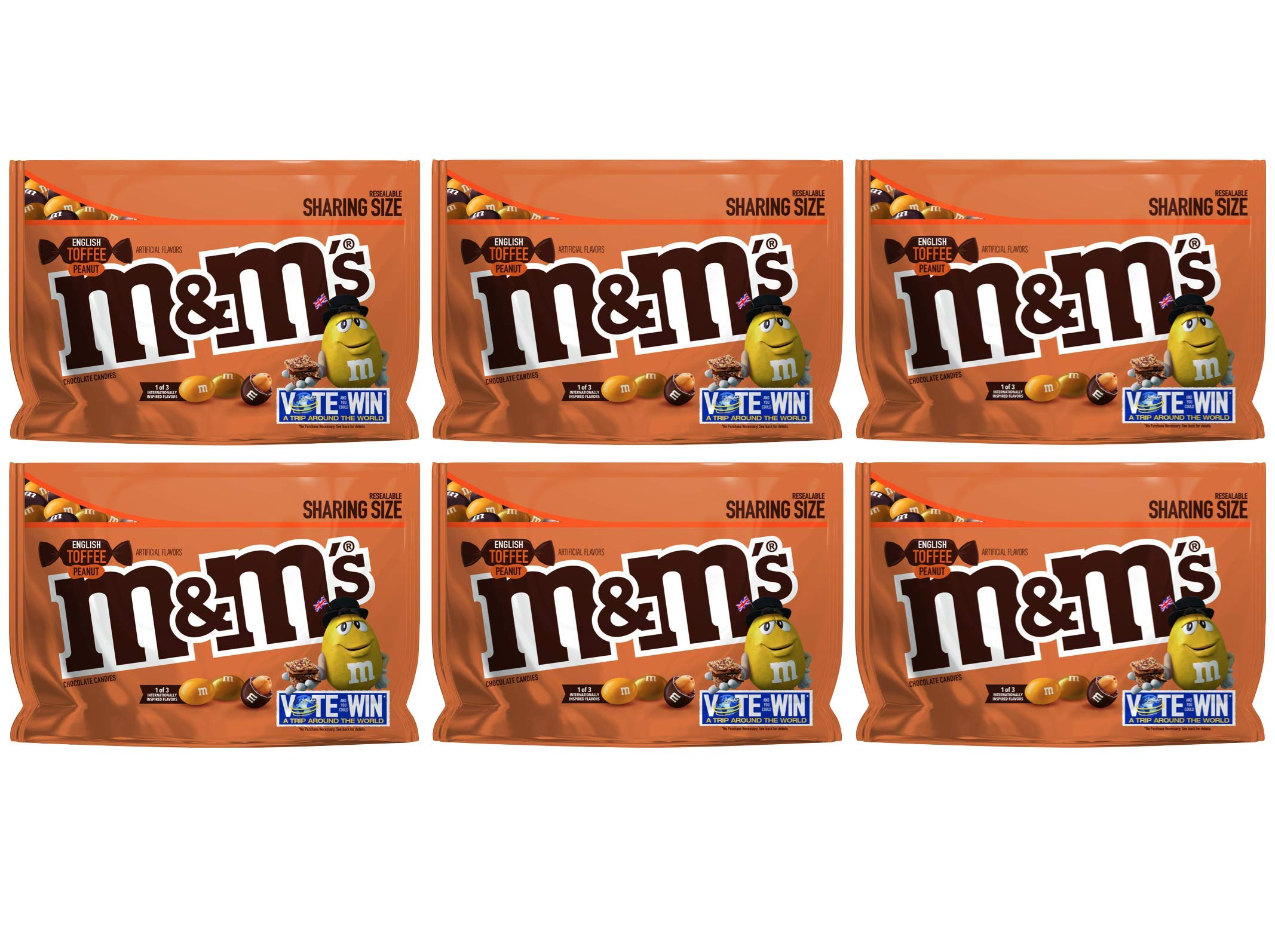 M&M's (Pack of 6) Chocolate Candy Flavor Vote English Toffee Peanut Sharing Size, 9.6 Ounce Bag