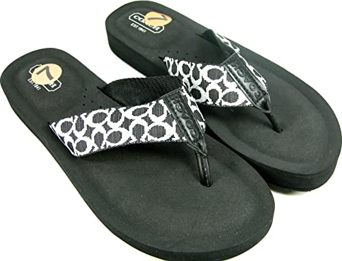 0930295bb Coach New C Signature Flip Flops Sandals Black Size 7 Thong Shoes Jessalyn   Amazon.ca  Shoes   Handbags