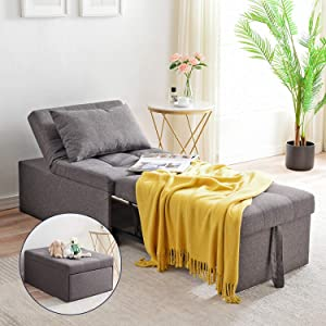 Cozy Castle Multifunational Sofa Bed, Sleeper Chair, Ottoman, Convertibel Chair 4 in 1, Multi-Function Adjustable Lounge Bed, Living Room Sofa, Modern Linen Fabric, Couch Bed for Small Apartment