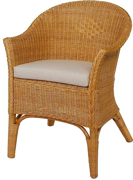 Rattan-Sessel Natur in der Farbe Honig Korb-Sessel inkl. Polster ...