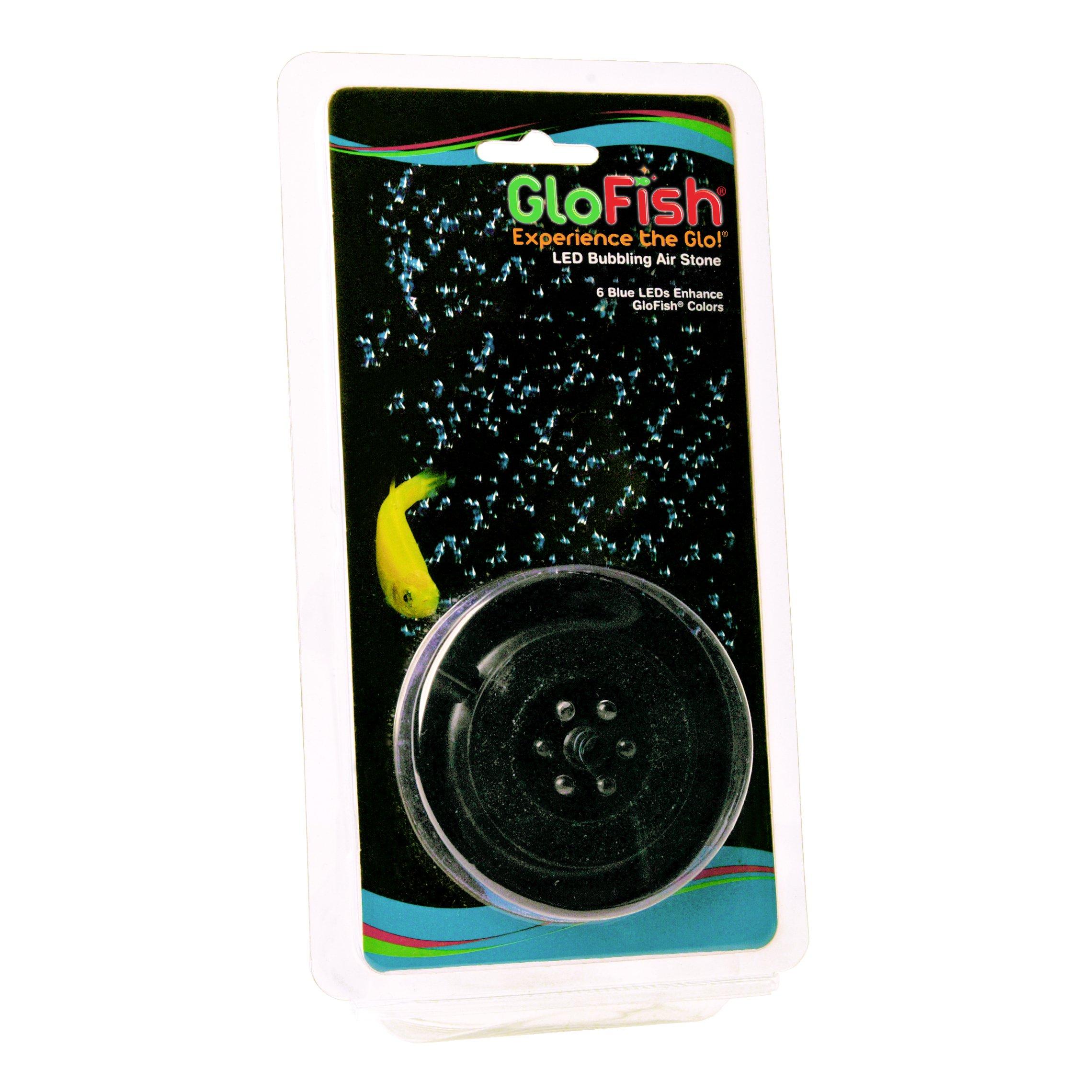 GloFish Round Aquarium LED Bubbling Air Stone, 6 Blue LEDs