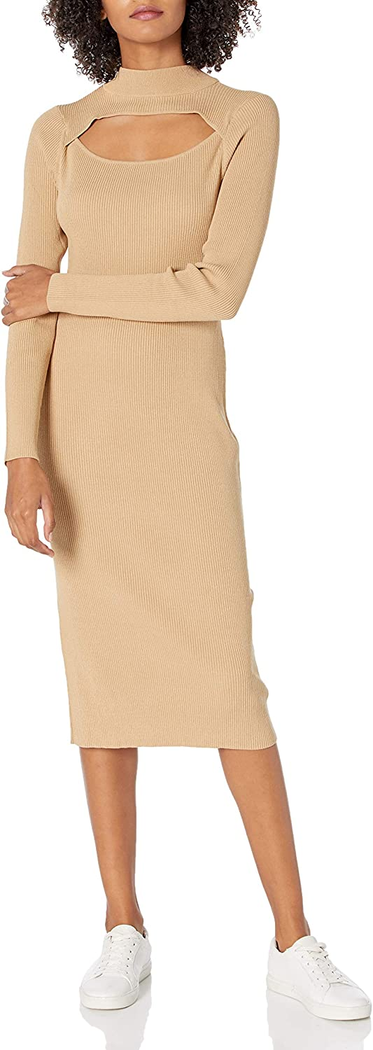 The Clearance SALE! Limited time! Drop Women's Chantal Fitted Sweater Dress Midi Cutout All stores are sold Rib