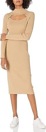 The Drop Chantal Vestido Midi Acanalado Y Ajustado con Silueta Bodycon Y Abertura Dress Mujer