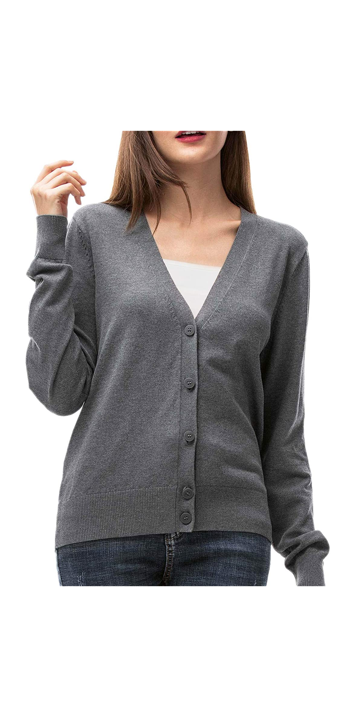 Womens V Neck Button Down Cardigan Sweaters Long