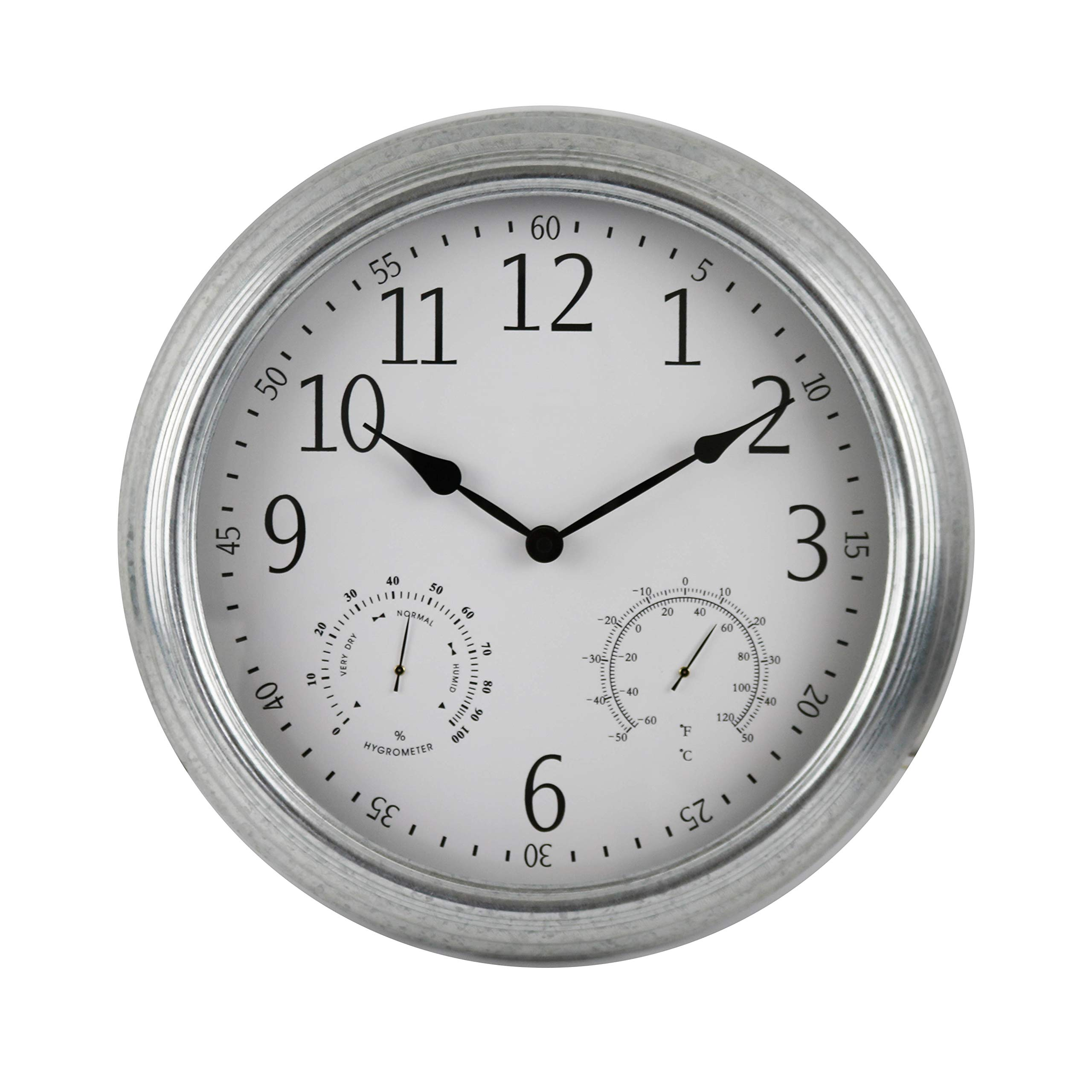 BACKYARD EXPRESSIONS PATIO · HOME · GARDEN 914937 16'' Metal Indoor/Outdoor Weather Monitoring Clock, Silver