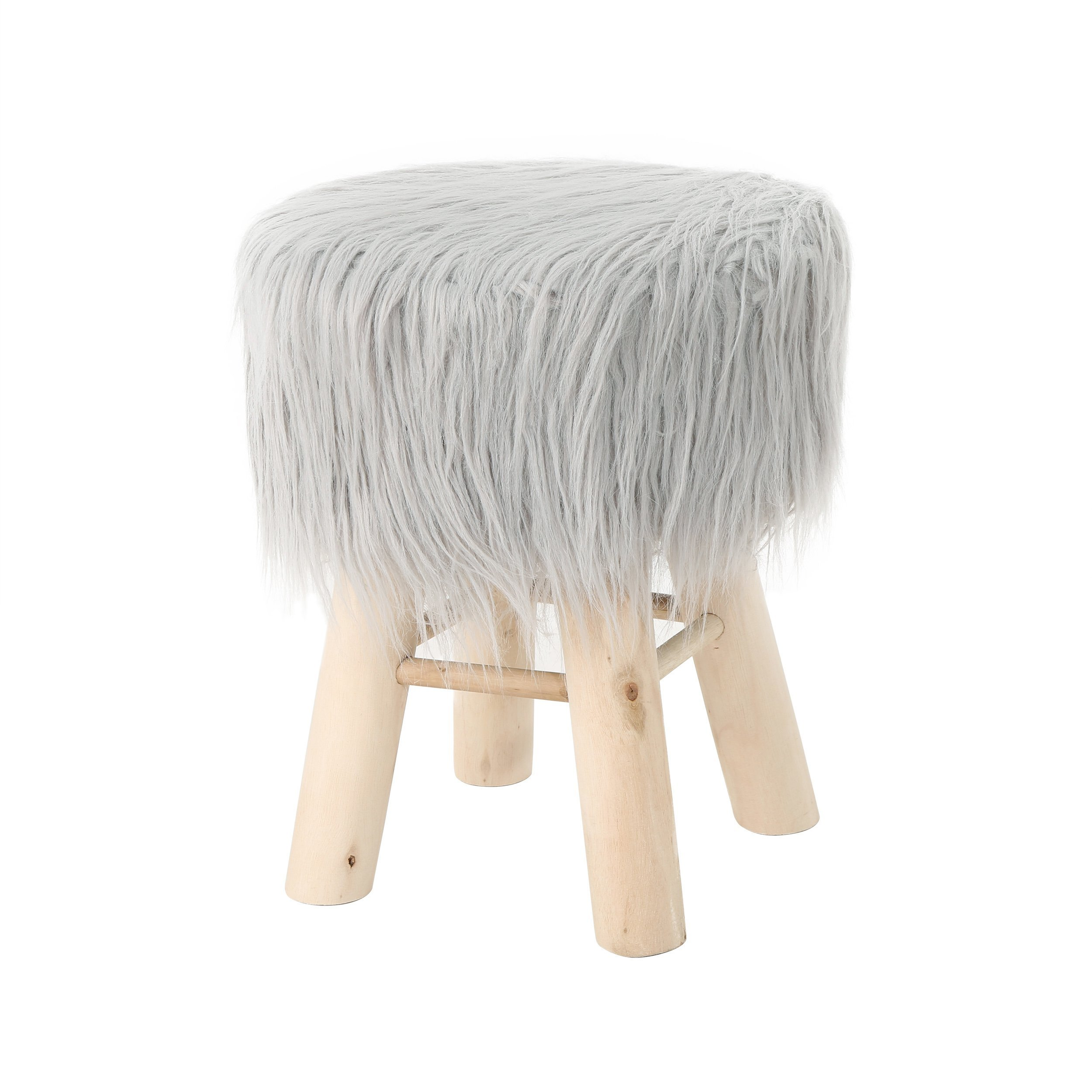 Great Deal Furniture 305729 Lang Stool with Furry Plush, Silver, Natural by Great Deal Furniture