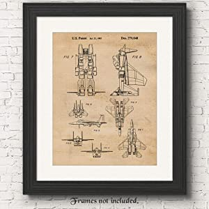 Vintage Transformers Airplane Patent Poster Prints, Set of 1 (11x14) Unframed Photo, Wall Art Decor Gifts Under 15 for Home, Office, Studio, Man Cave, College Student, Teacher, Comic-Con & Movies Fan