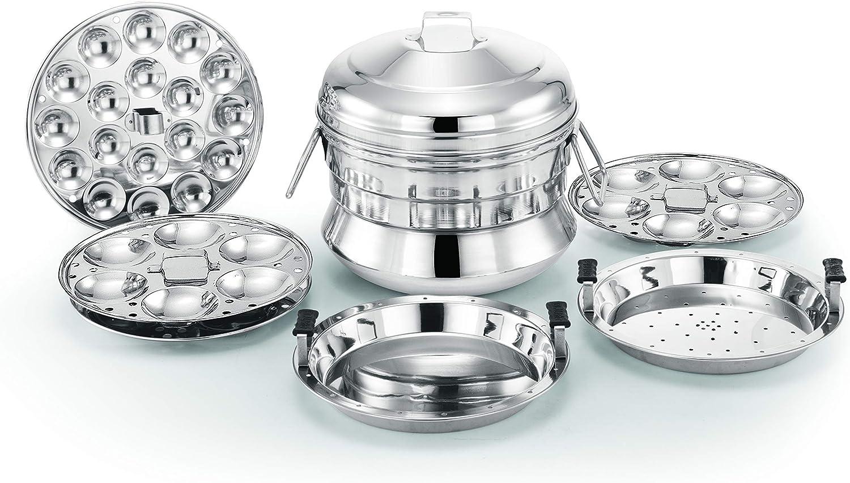 Alisha Italia Stainless Steel All in One Idli Cooker / 3 Idli Plates (18 Idlies) / 1 Dhokla Plate / 1 Steamer Plate and 1 Mini Idli Plate