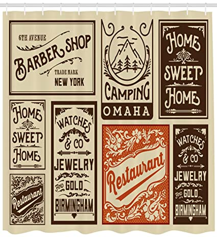 Ambesonne Old Newspaper Decor Shower Curtain By Advertisement Signs Barber Shop Restaurant Camping Jewelry Home