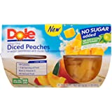 Dole Fruit Bowls, Diced Peaches in Water, 4 Cups (Pack of 6)Packaging May Vary