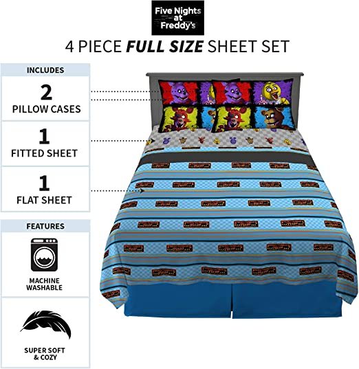 OIzjjzsJS Five Nights at Freddys 2-Piece Bedding Set Soft Printed Microfiber Comforter Cover with Zipper Closure for Kids Boys Girls and Teen 53X79
