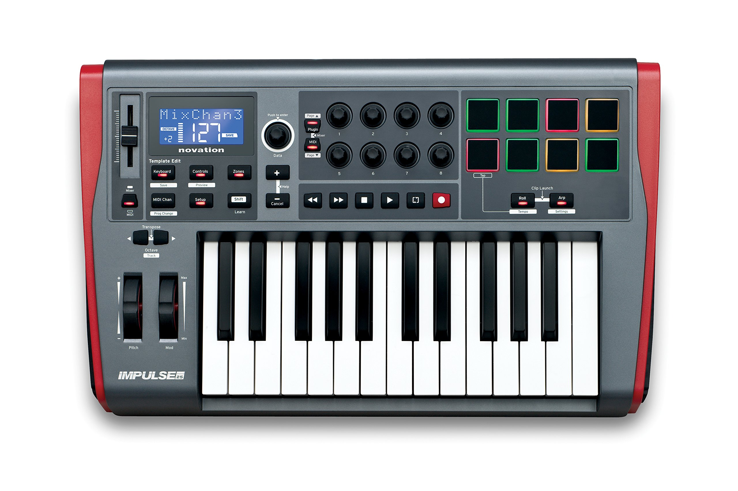 Novation Impulse 25 USB Midi Controller Keyboard, 25 Keys