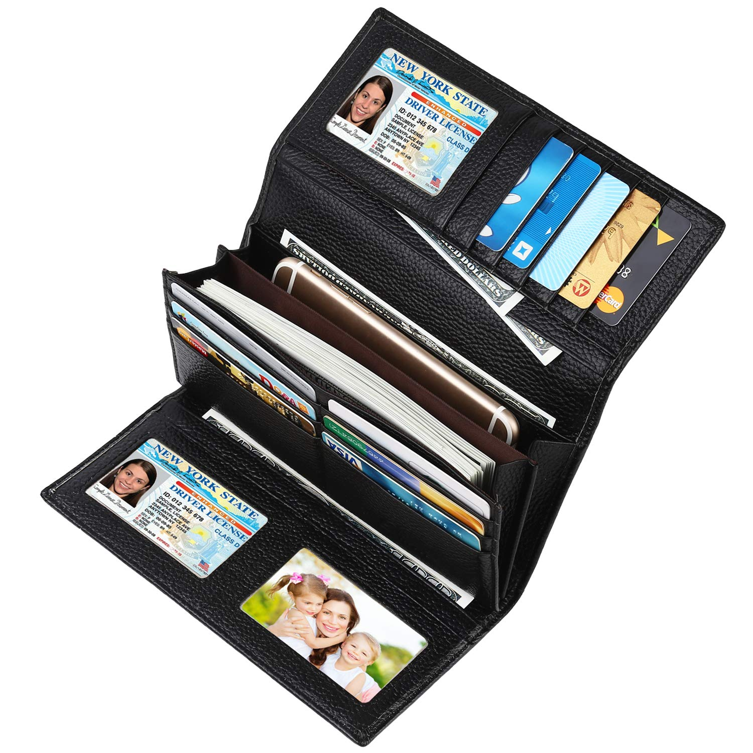 Lavemi RFID Blocking Trifold Leather Checkbook Clutch Wallets for Women(Black) by Lavemi