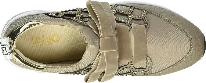 Scarpe Donna Liu Jo Tortora Sneaker Aura Fabric Strass Tessuto Nuove