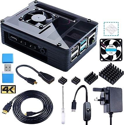 Smraza - Funda transparente para Raspbery Pi 4 con ventilador, fuente de alimentación 3A USB-C, 4