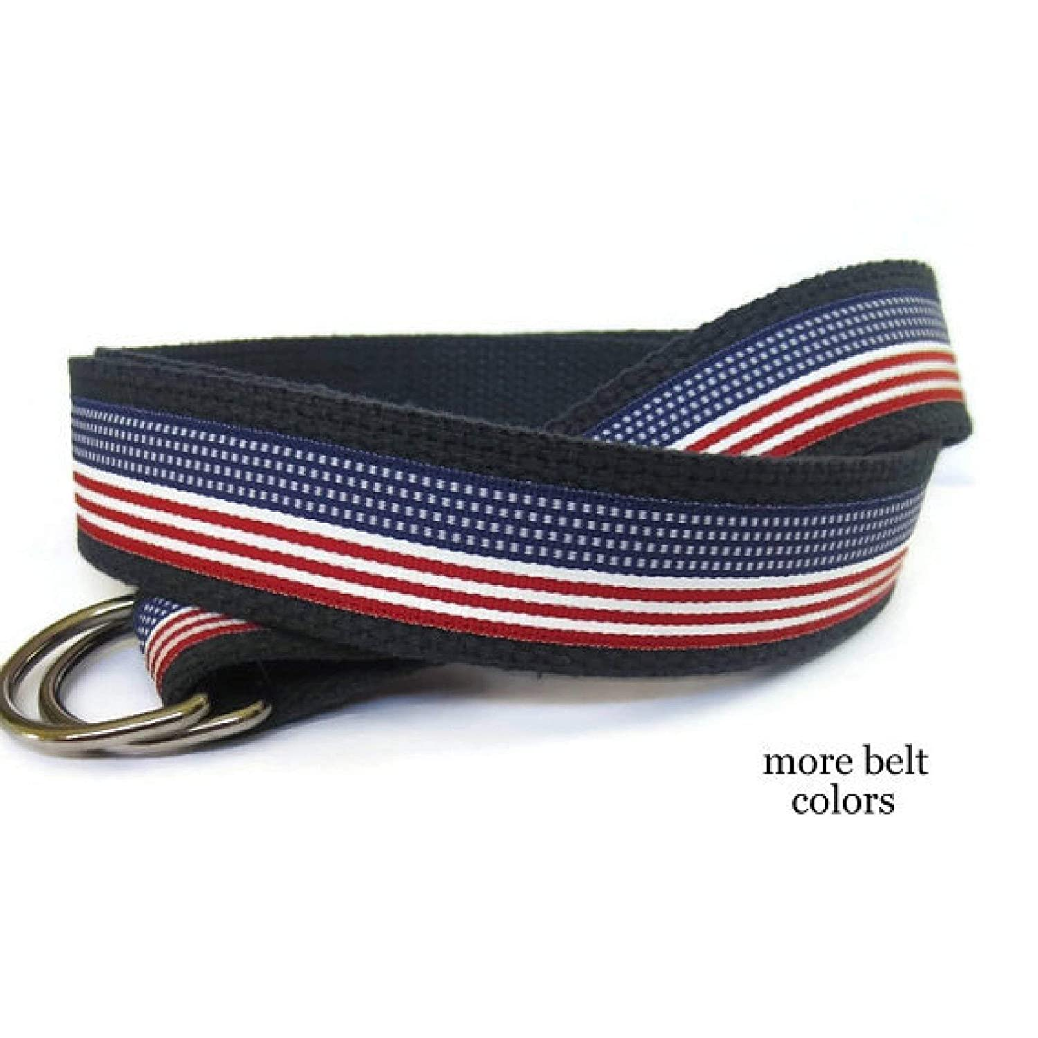 Mens Belt/American Flag Belt Red White Blue Mens Canvas Belt/Patriotic Ribbon Belt / 4th of July Belt/USA Webbing Belt- for men, teens Big & Tall