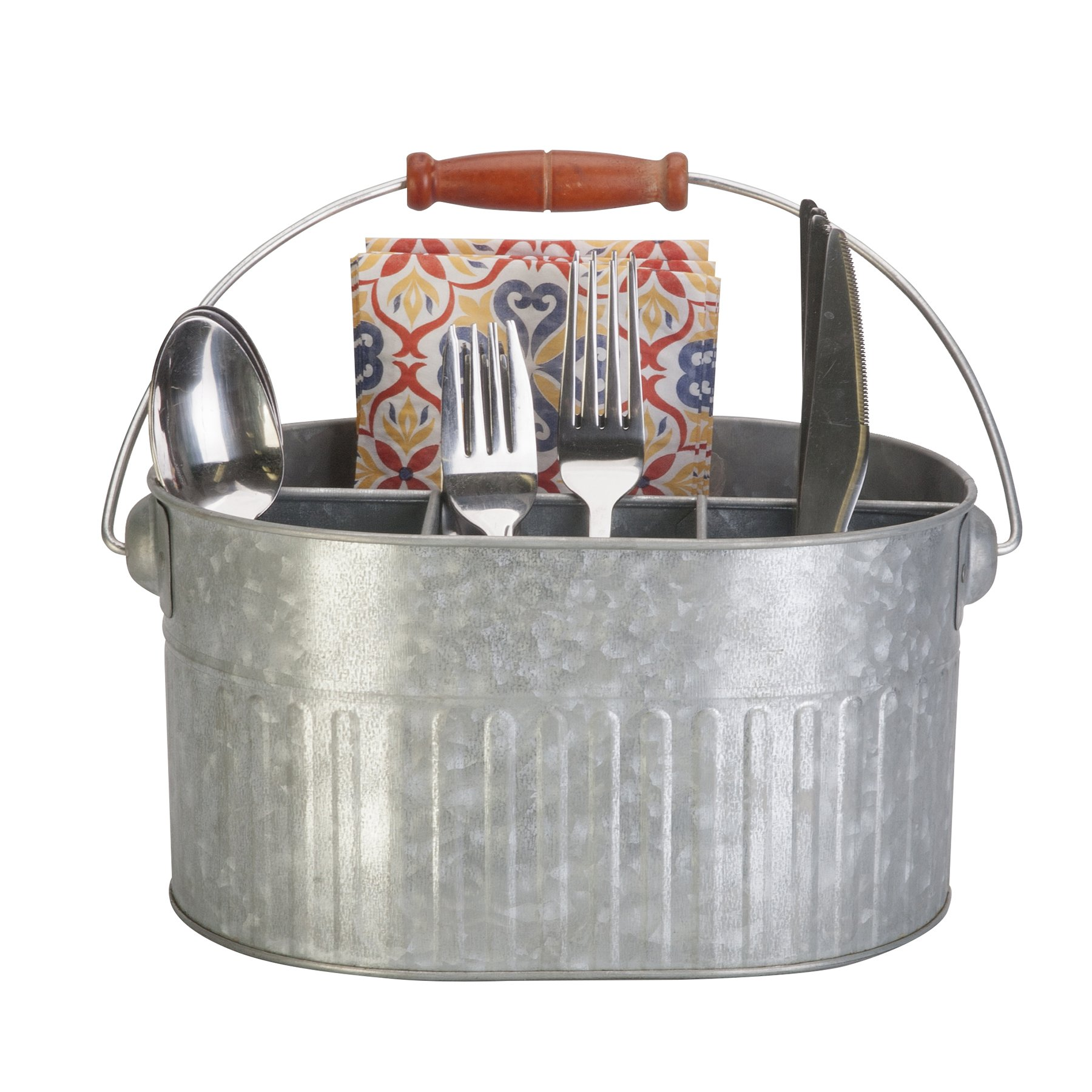 Panacea 83243 Silverware & Planter Caddy Bucket Garden Accessories, 11 in. x 7 in. x 9.5 in, Vintage Galvanized by Panacea