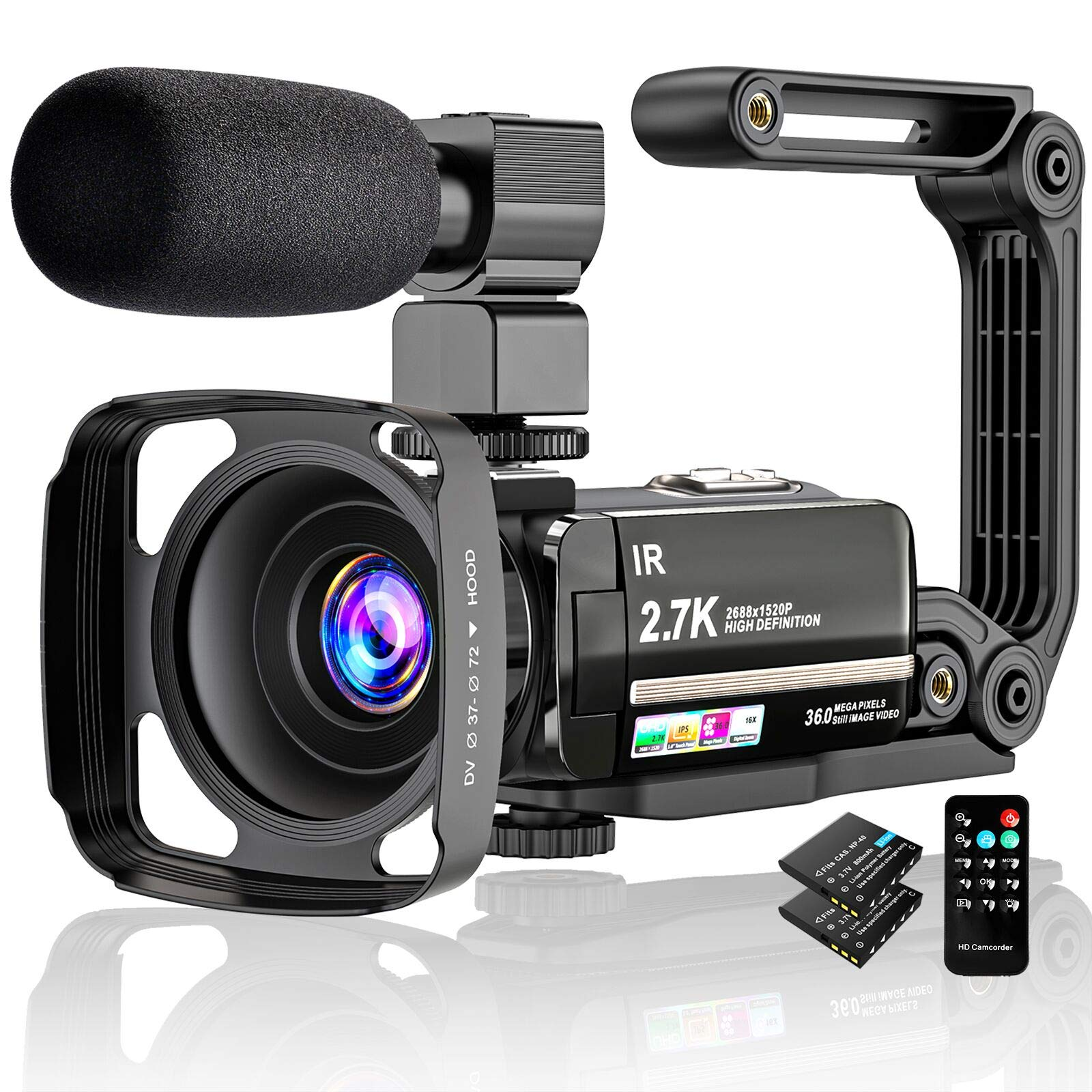 """Video Camera 2.7K Camcorder UHD 36MP Vlogging Camera for Youtube IR Night Vision 3.0"""" LCD Touch Screen 16X Digital Zoom Camera Recorder with Microphone Handheld Stabilizer Remote Control,2 Batteries"""