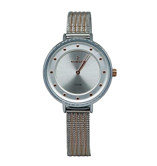 reloj mujer, mara Nowley, acero malla bicolor, esfera gris con números punto dorado