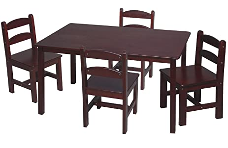Amazoncom Gift Mark Rectangle Table Set With Chairs Cherry - Rectangle table with 4 chairs