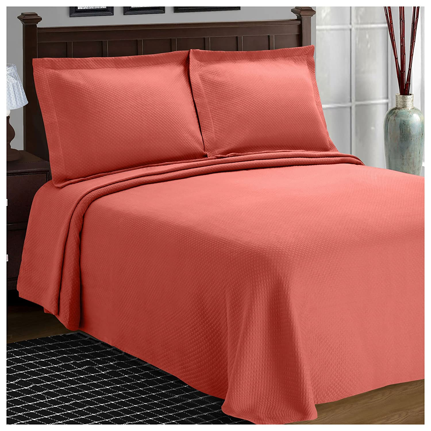 (Queen, Coral) - Superior Diamond Solitaire Jacquard Matelasse 100% Premium Cotton Bedspread with Matching Shams, Queen, Coral B01MYQ7IPQ コーラル クイーン