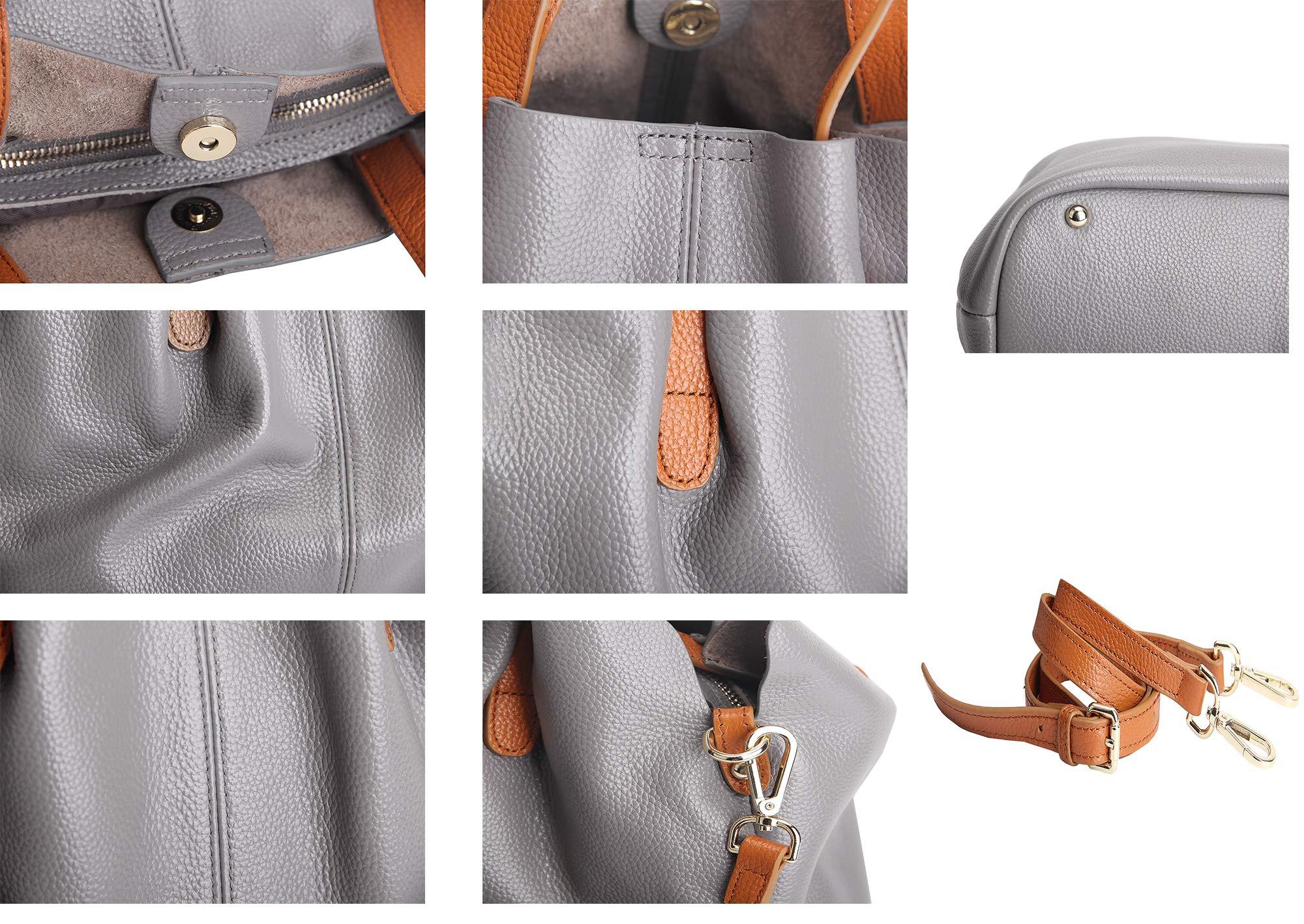 Molodo Womens Satchel Hobo Top Handle Tote Geuine Leather Handbag Shoulder Purse,Black,Large by Molodo (Image #7)