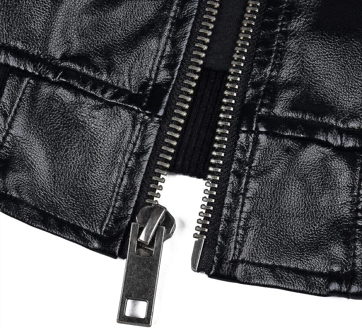 Chaqueta de piel sint/ética con capucha para hombre FAXIKIO chaqueta de motorista con capucha desmontable