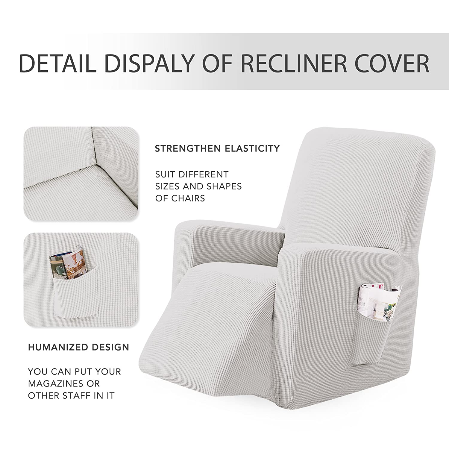 Subrtex Stretch Chair Slipcover Furniture Protector Lazy Boy Covers for Leather and Fabric Sofa with Side Pocket Recliner, Off-White
