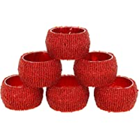Set of 6 Red Beaded Table Decoration Napkin Rings - Perfect for Parties