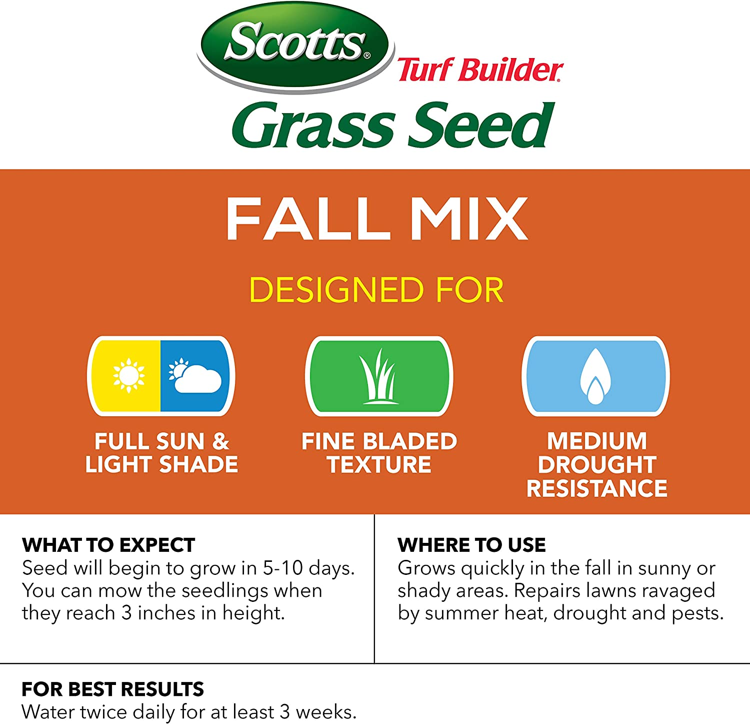 Scotts Turf Builder Grass Seed Fall Mix - 3 lb., Establishes Quickly to Help Lawn Recover From Summer Stress, Thickens and Strengthens To Help Prevent Future Weeds, Seeds up to 1, 200 sq. ft. : Grass Plants : Garden & Outdoor