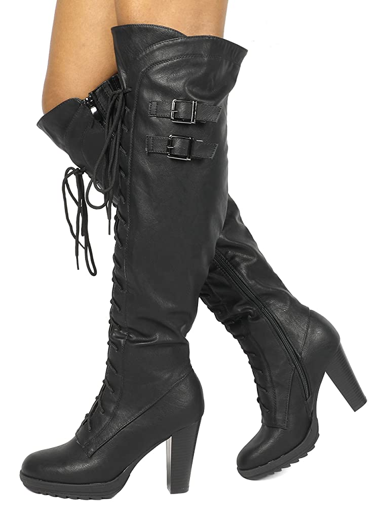 DREAM PAIRS Womens Knee High Platform Heel Boots