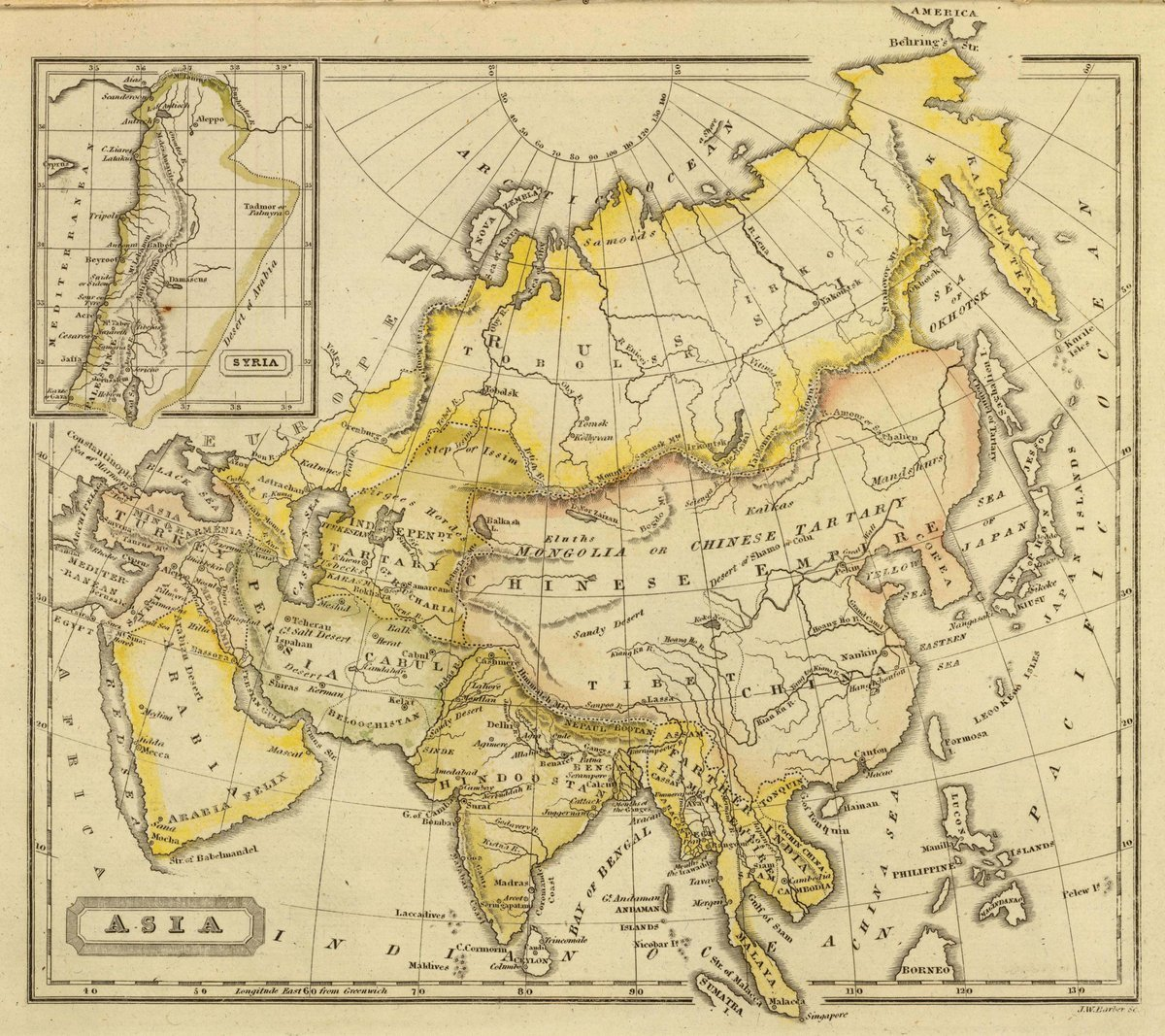 1828 School Atlas | Asia. J.W. Barber sc. (with) Syria. (Published by Richardson & Lord. Sold also by Collins & Hannay, New-York, 1828) | Antique Vintage Map Reprint