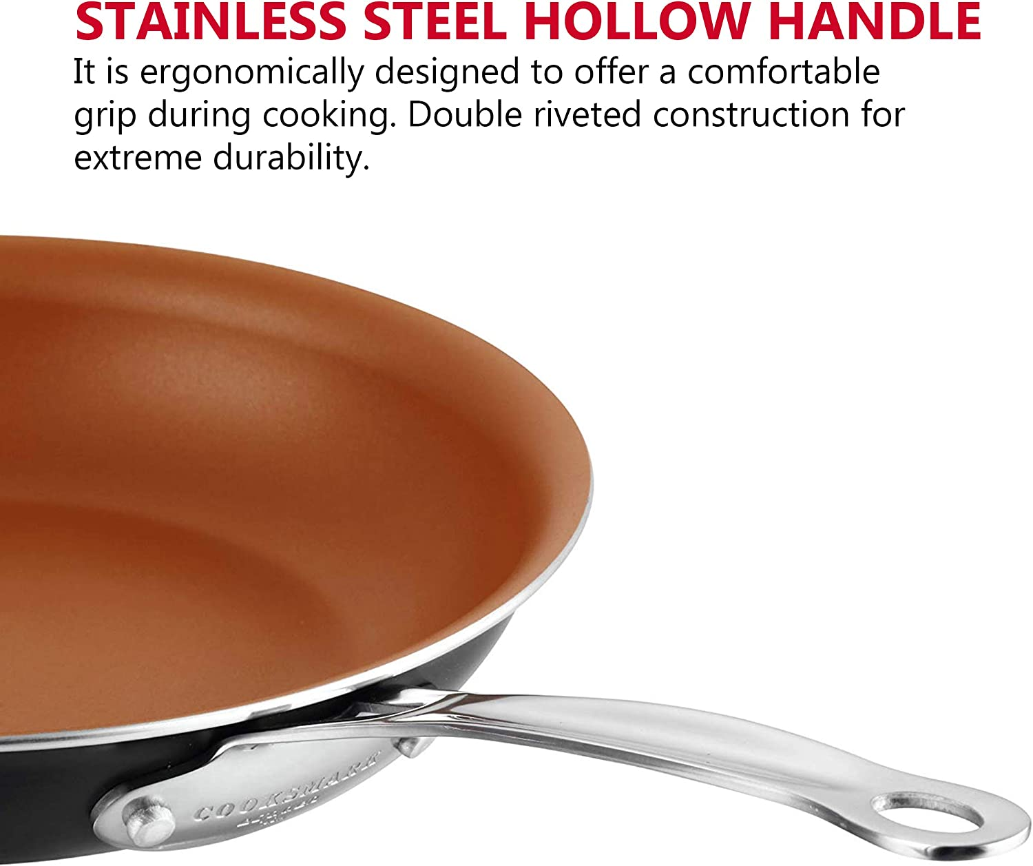 Black AMERICOOK 10 Inch Copper Frying Pan Non-Stick Deep Fry Pan Induction Oven Safe