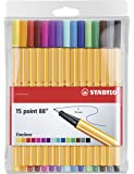 STABILO Point 88 Fineliner - Assorted Colours, Wallet of 15